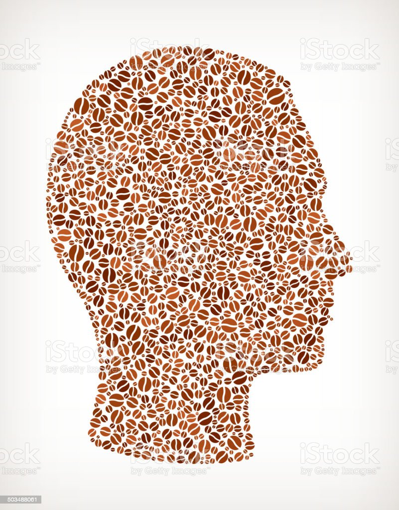 Graphic representation human head formed by coffee beans royalty-free stock vector art