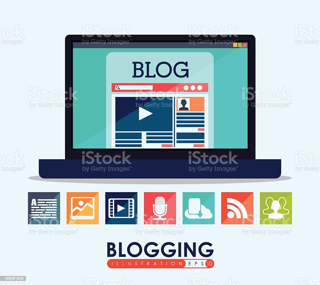 Graphic representing a blog concept with icons vector art illustration