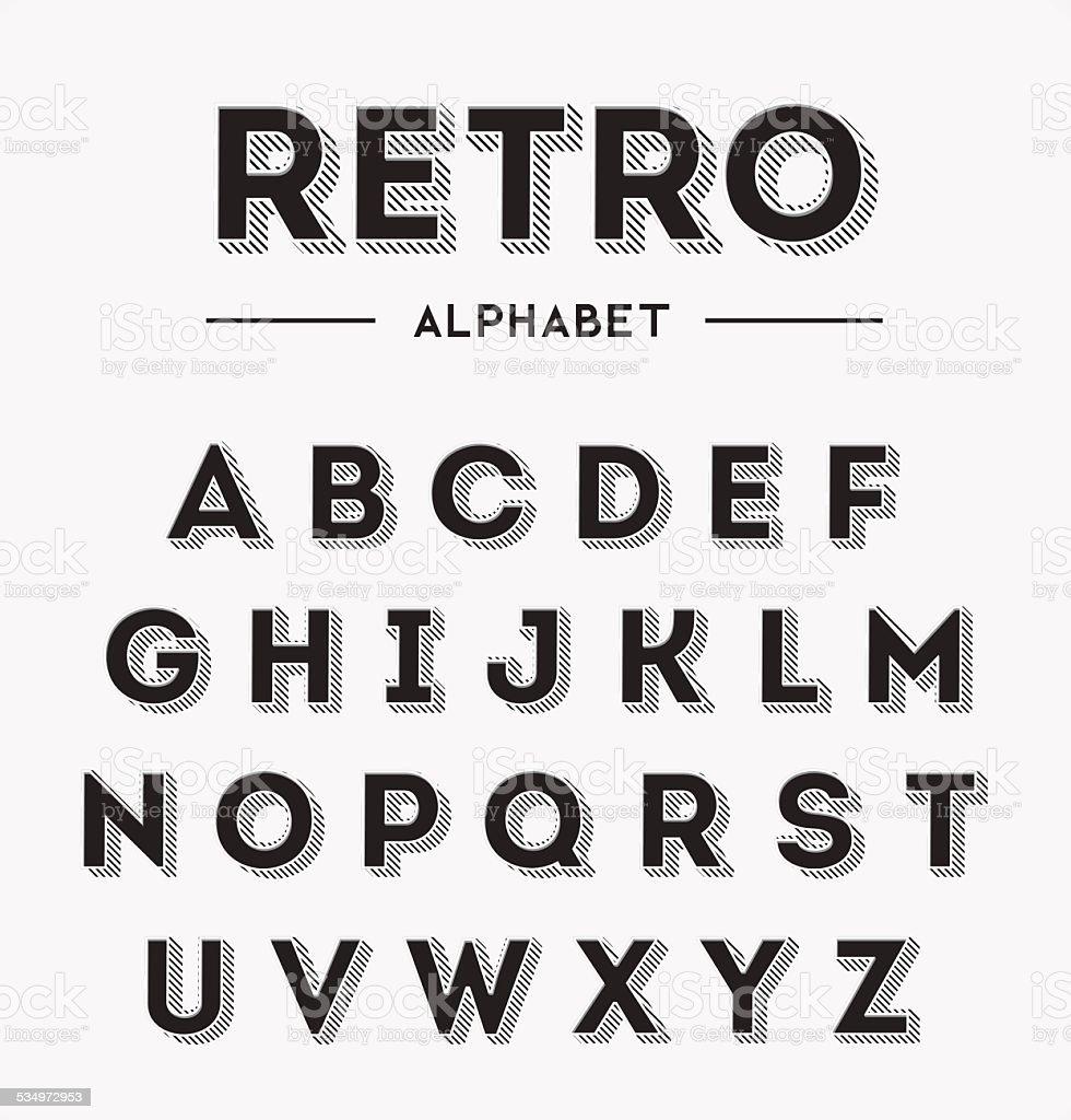 Graphic Retro Letters set vector art illustration
