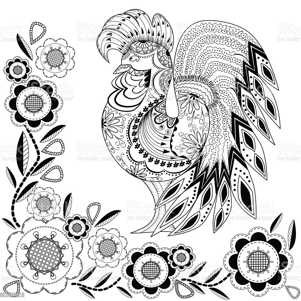 Graphic rooster figure, black and white ornament with flowers royalty-free stock vector art