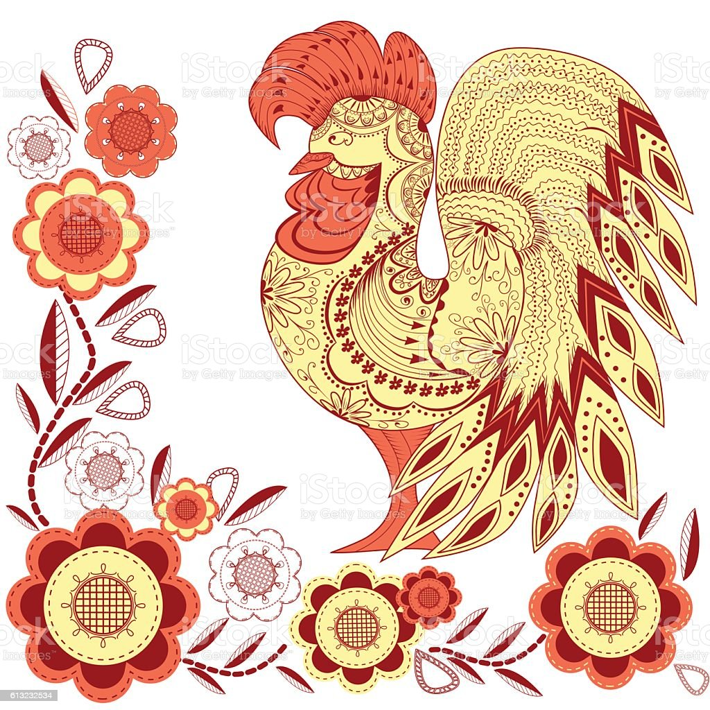 Graphic rooster figure, red yellow ornament with flowers royalty-free stock vector art