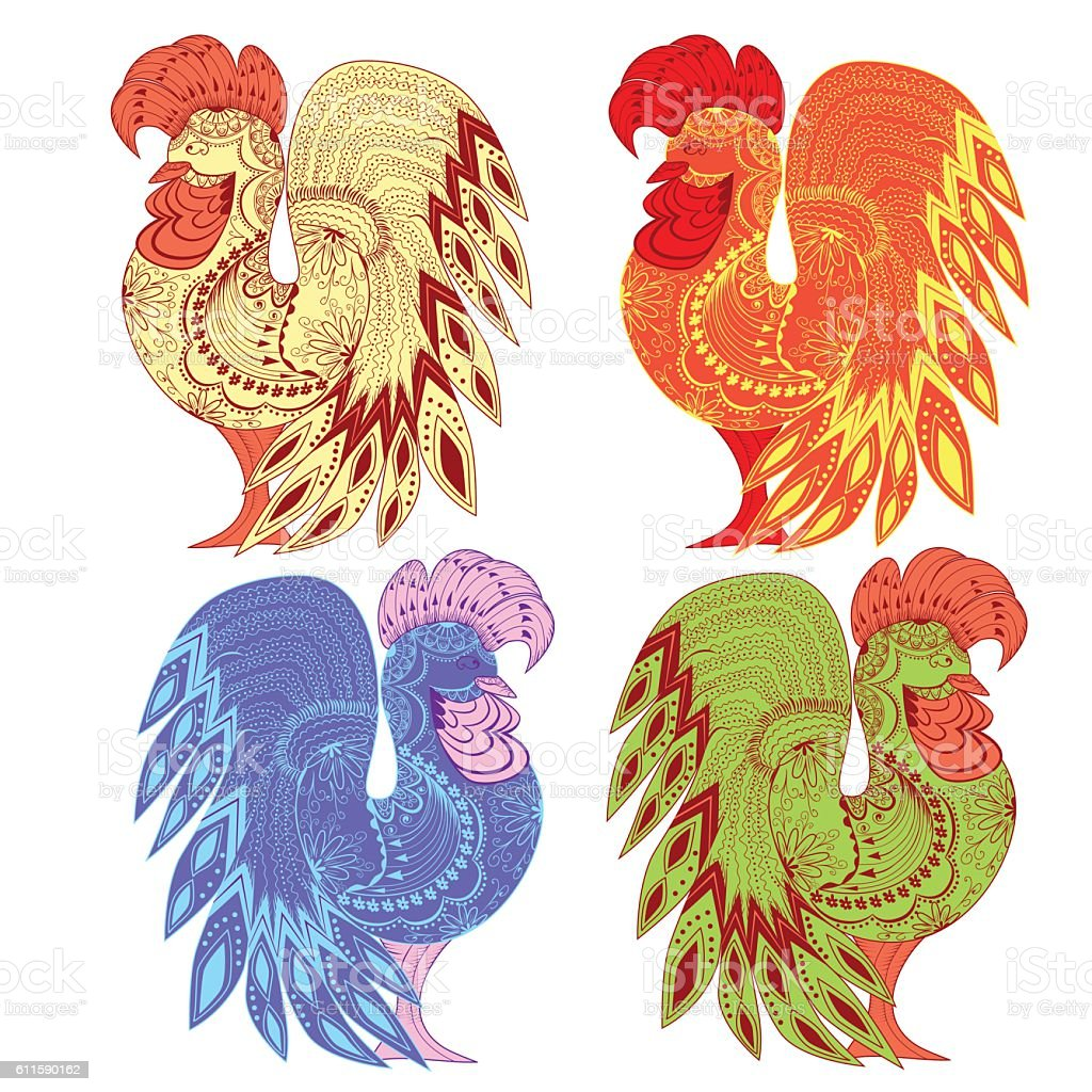Graphic roosters colorful of the figures and ornament royalty-free stock vector art