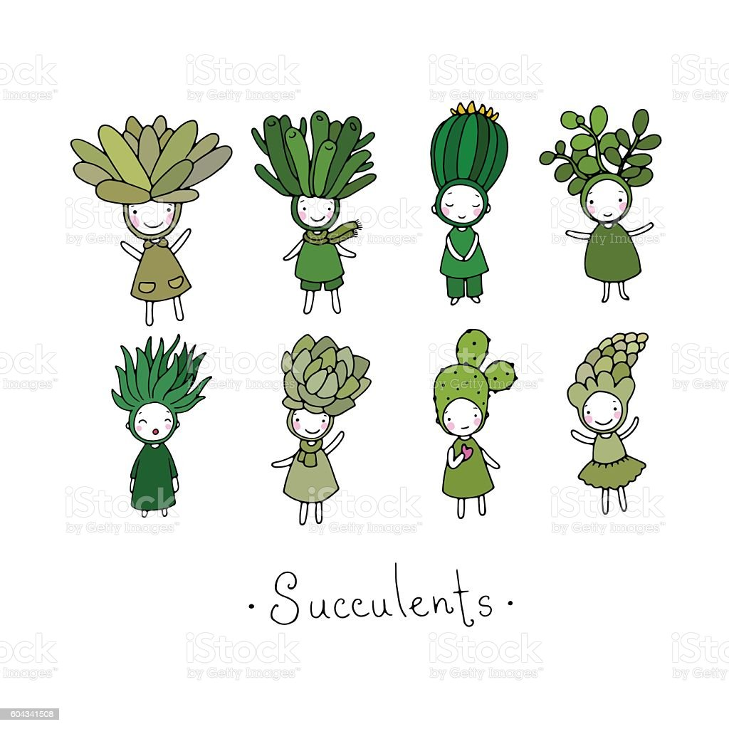 Graphic set with cute cartoon succulents. vector art illustration