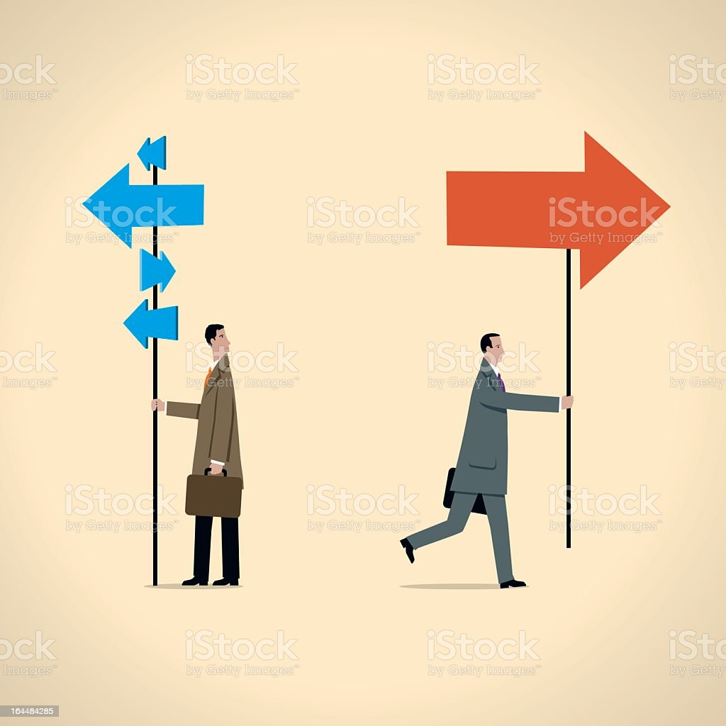 Graphic showing businessman holding blue and red arrow signs vector art illustration