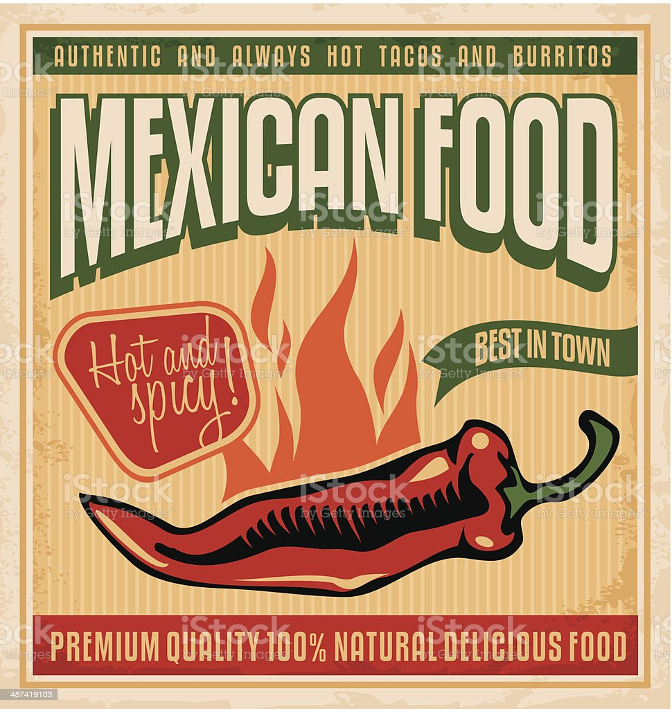 Graphic sign for Mexican food with a flaming pepper vector art illustration