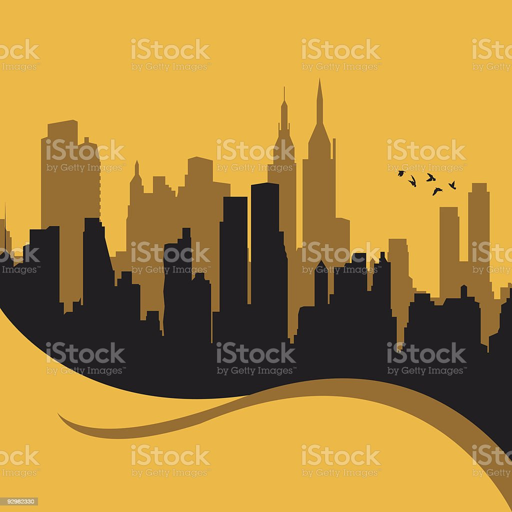 A graphic silhouette of a cityscape royalty-free stock vector art