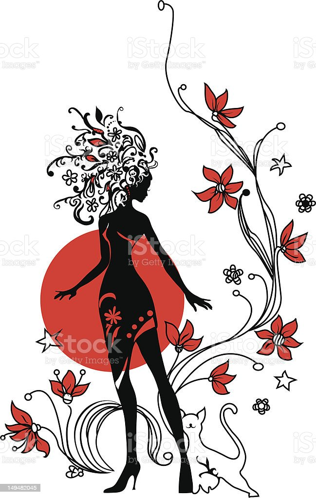 Graphic silhouette of a woman royalty-free stock vector art