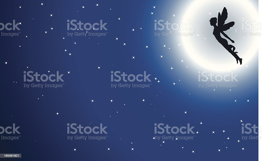 Graphic silhouette of fairy flying in front of full moon royalty-free stock vector art