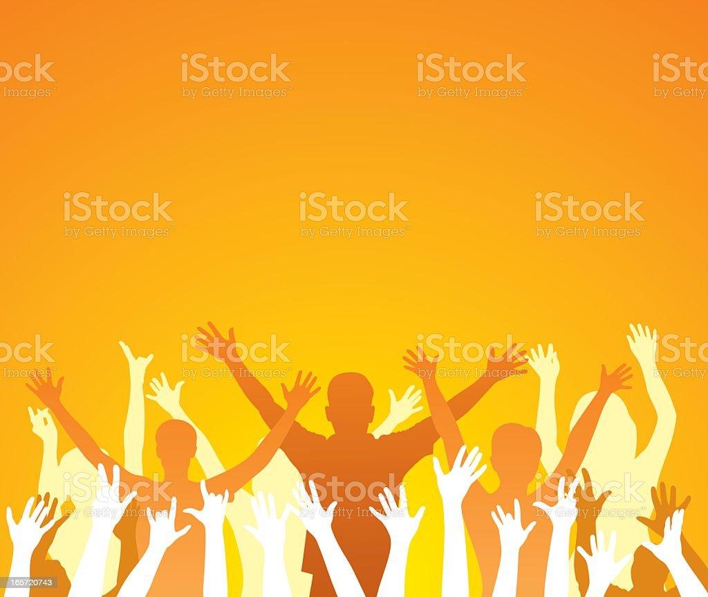 Graphic silhouette of people raising hands in bright orange vector art illustration