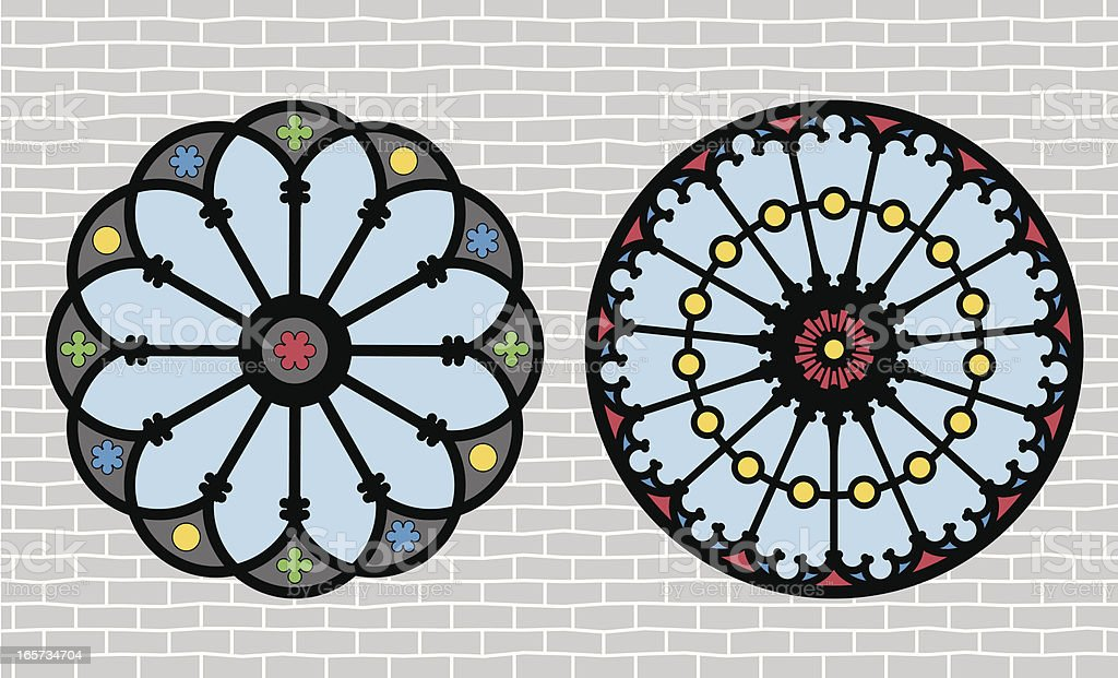 2D graphic stained glass window patterns against gray brick vector art illustration