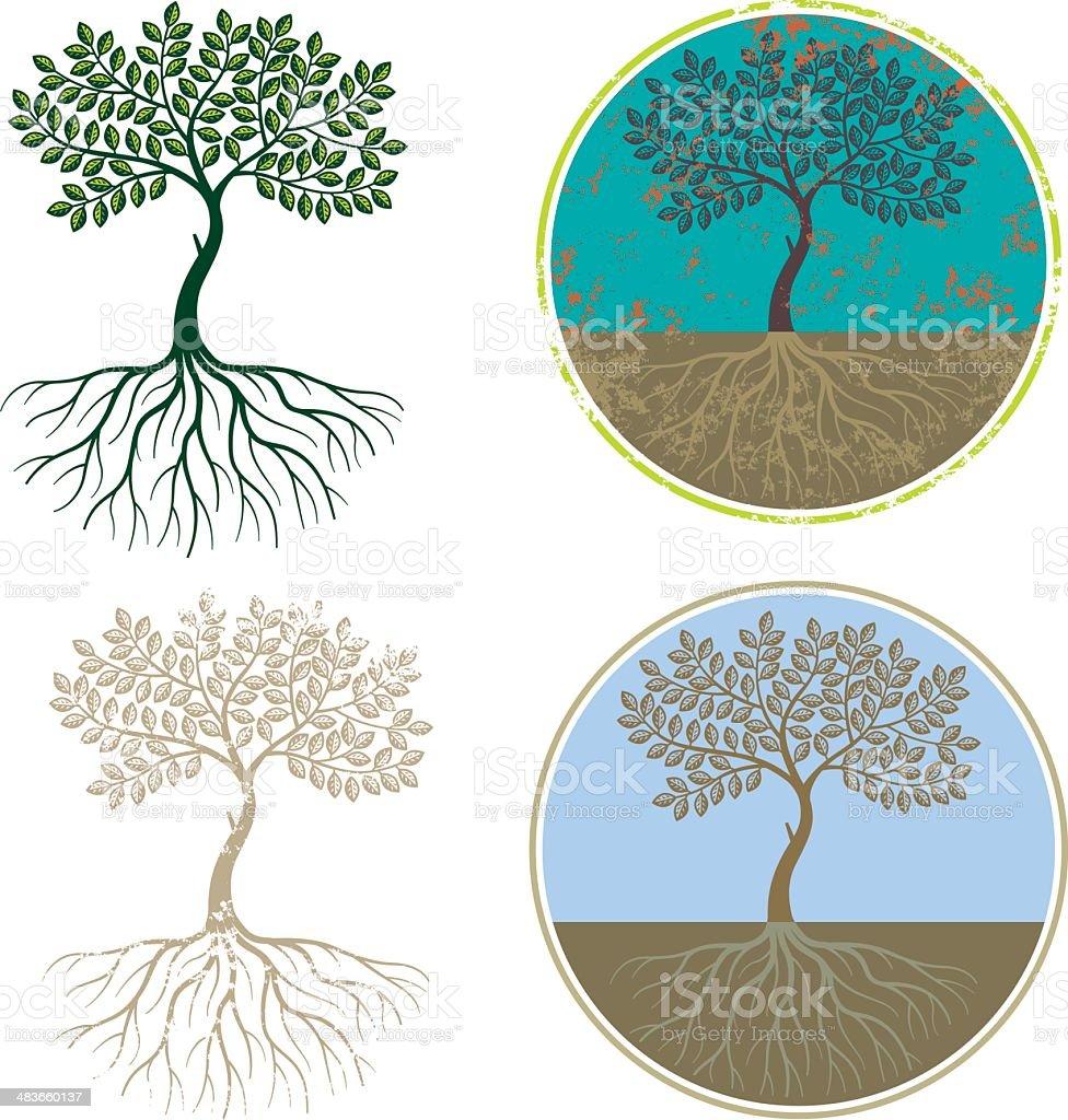 Graphic tree roots vector art illustration