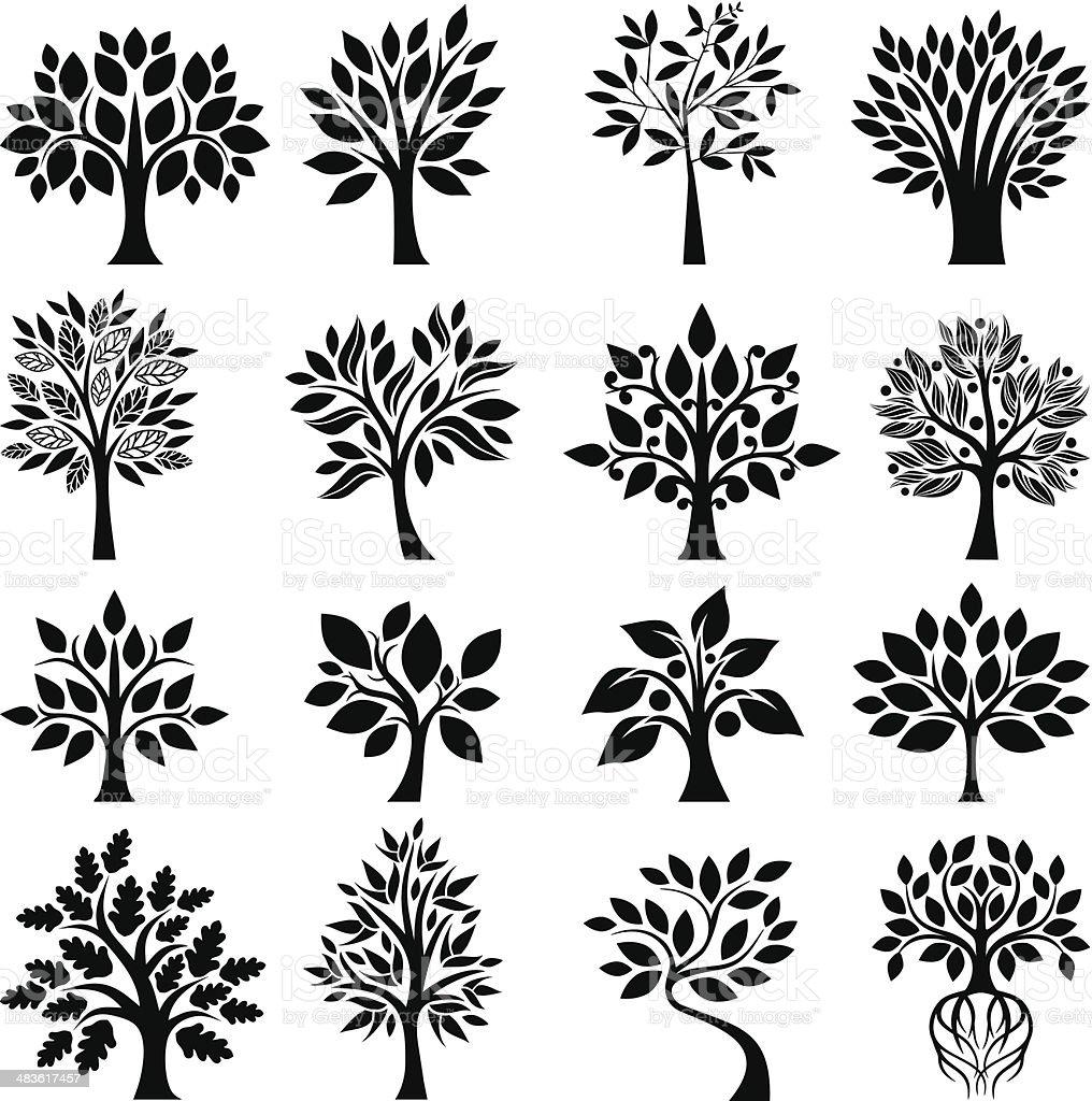 Graphic tree set vector art illustration