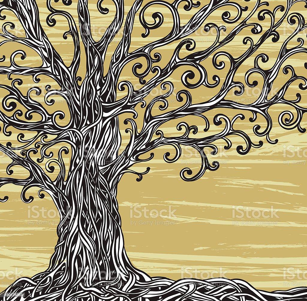 Graphic tree. vector art illustration