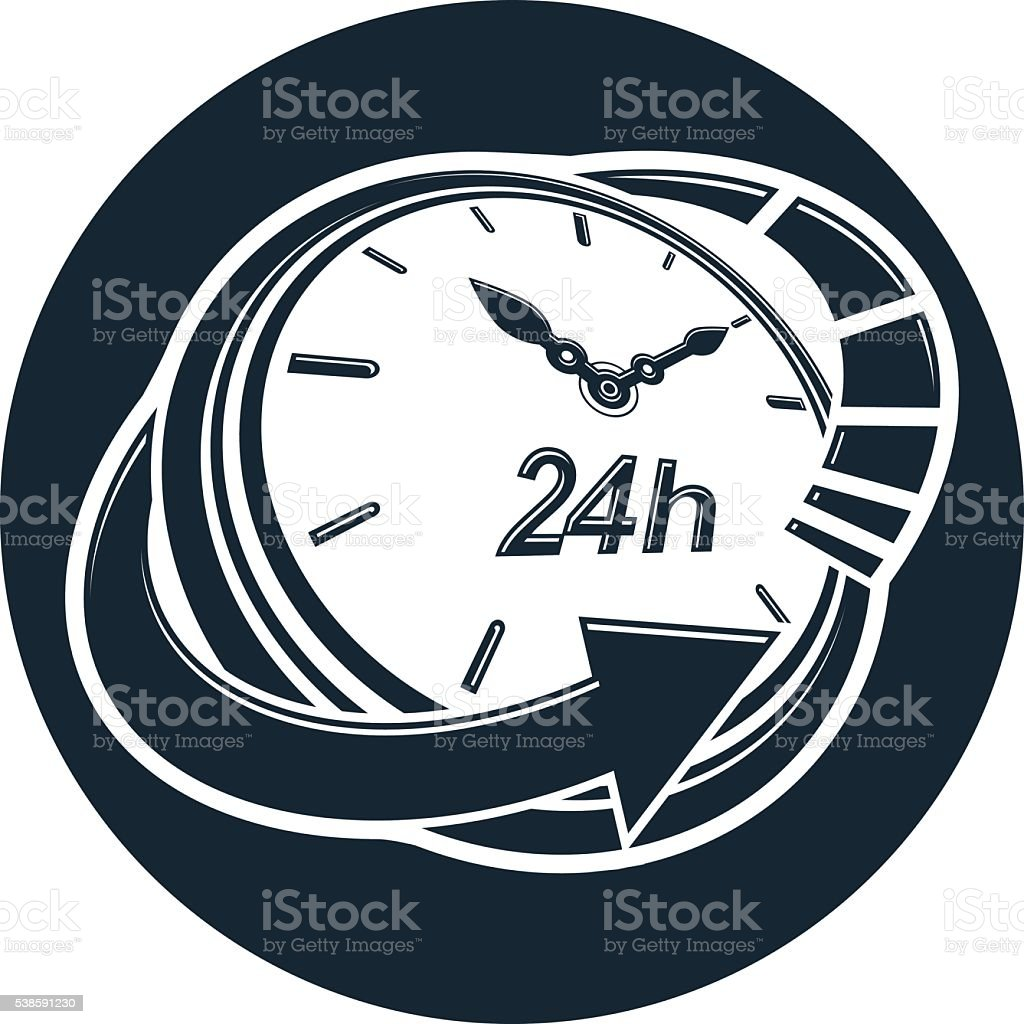 Graphic web vector 24 hours timer, around-the-clock pictogram. vector art illustration
