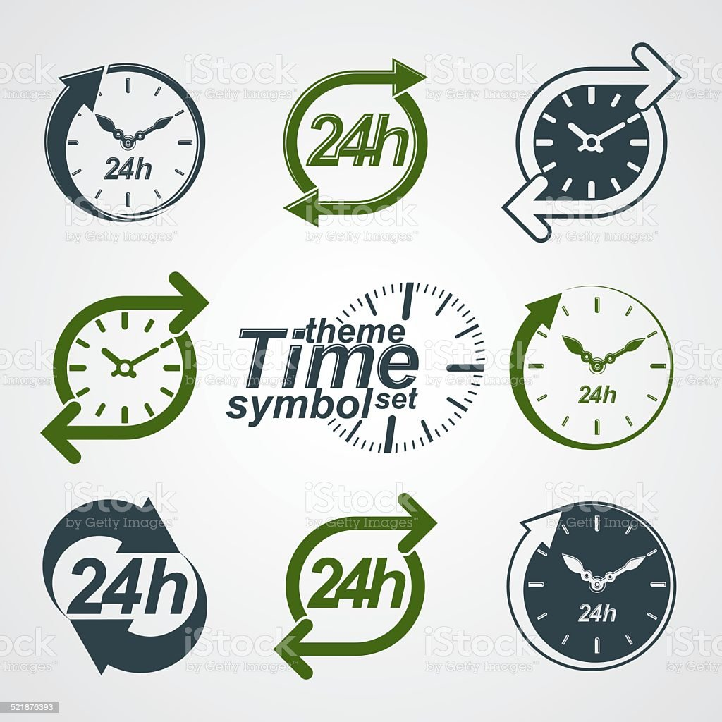 Graphic web vector 24 hours timer, around-the-clock pictograms vector art illustration