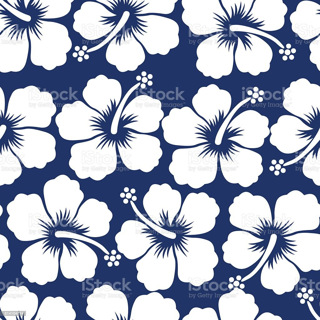 Graphic white tropical hibiscus flowers seamless pattern vector art illustration