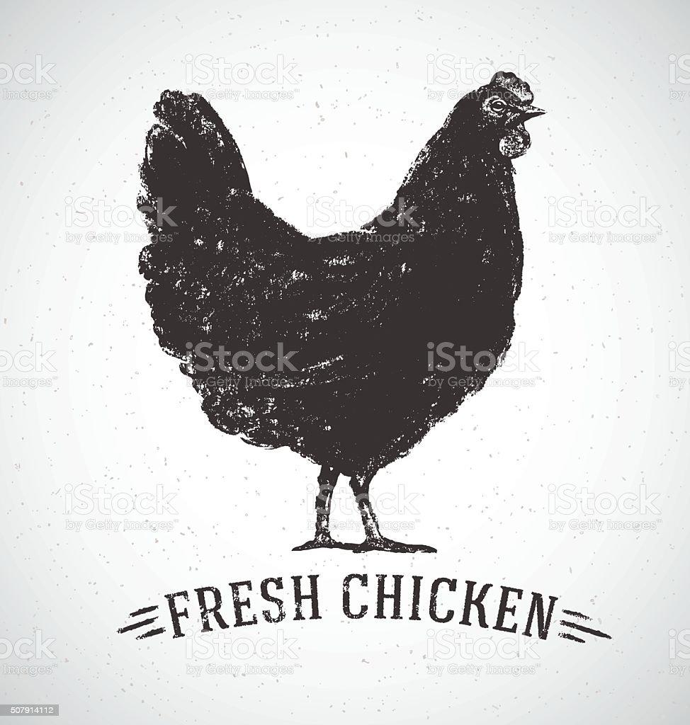 Graphical chicken. vector art illustration