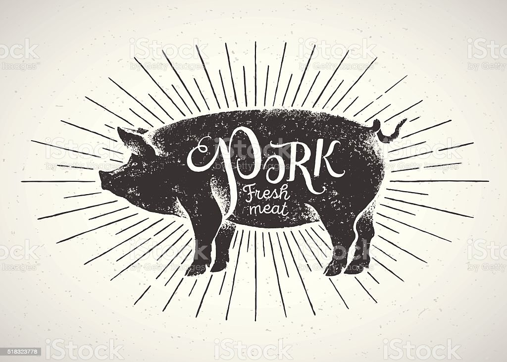 Graphical pig in label. vector art illustration