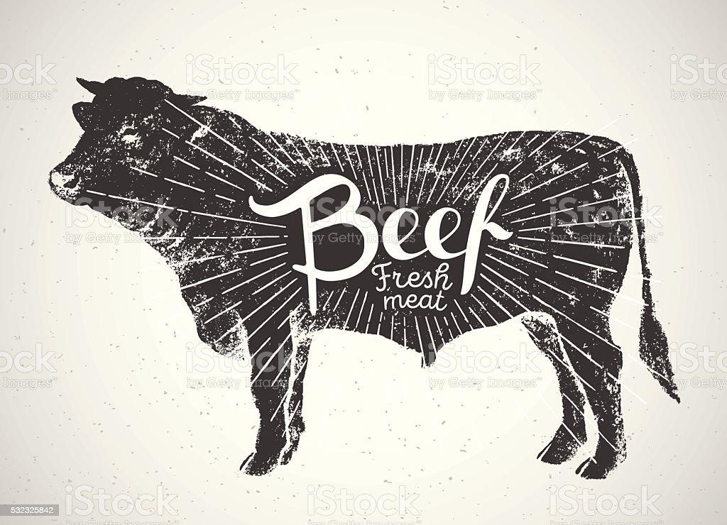 Graphical silhouette bull. vector art illustration