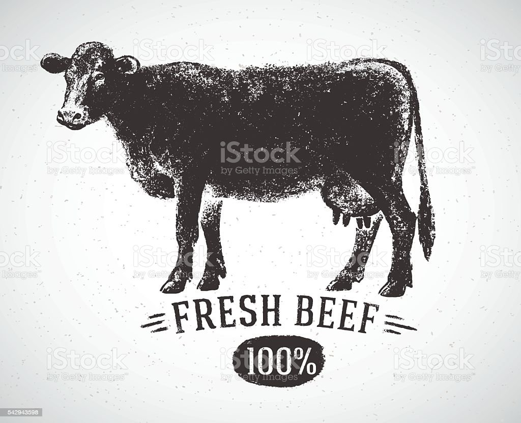 Graphical silhouette cow. vector art illustration