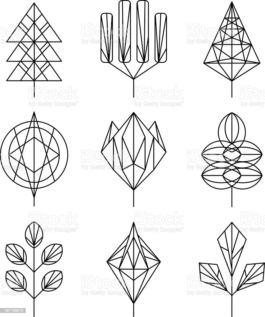 Graphical tree set, hipster linear style vector art illustration
