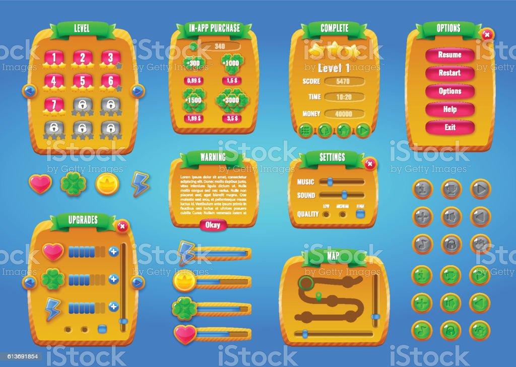 Graphical user Interface GUI for mobile game or app. Design vector art illustration