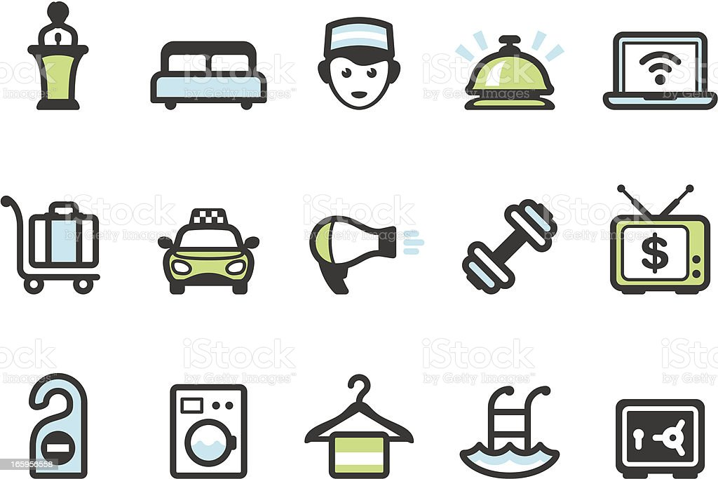 Graphico icons - Hotel amenities vector art illustration