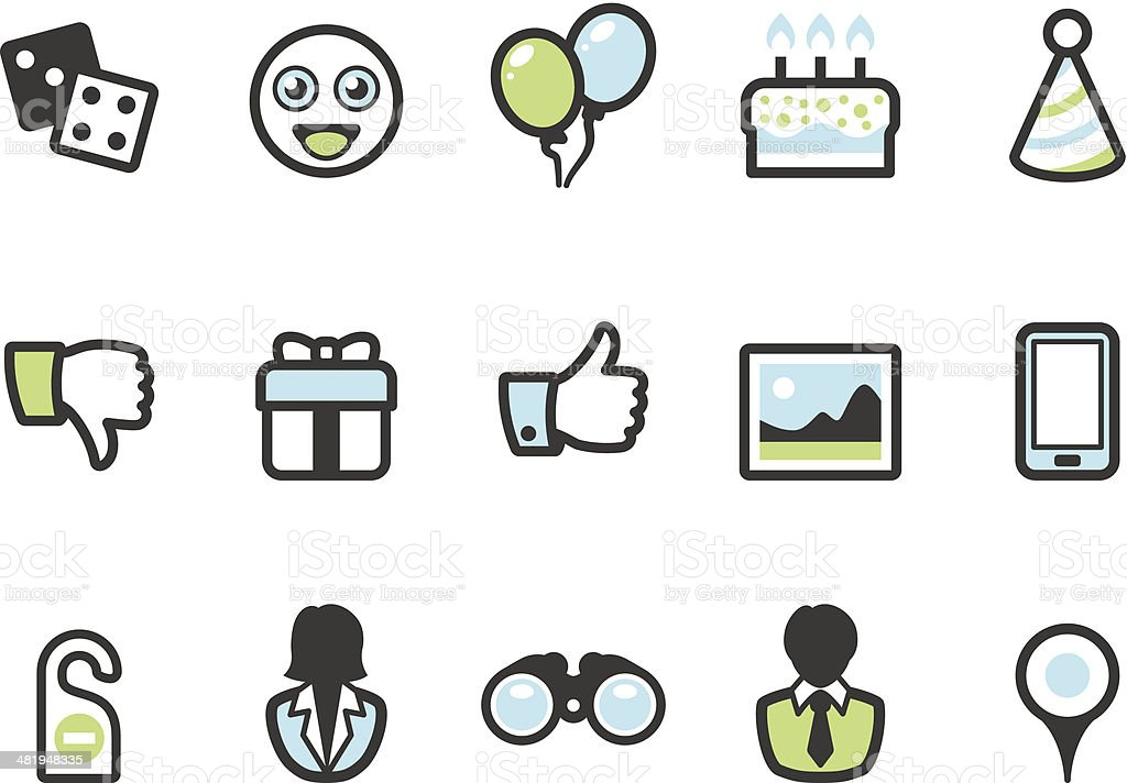 Graphico icons - Social Entertainment vector art illustration