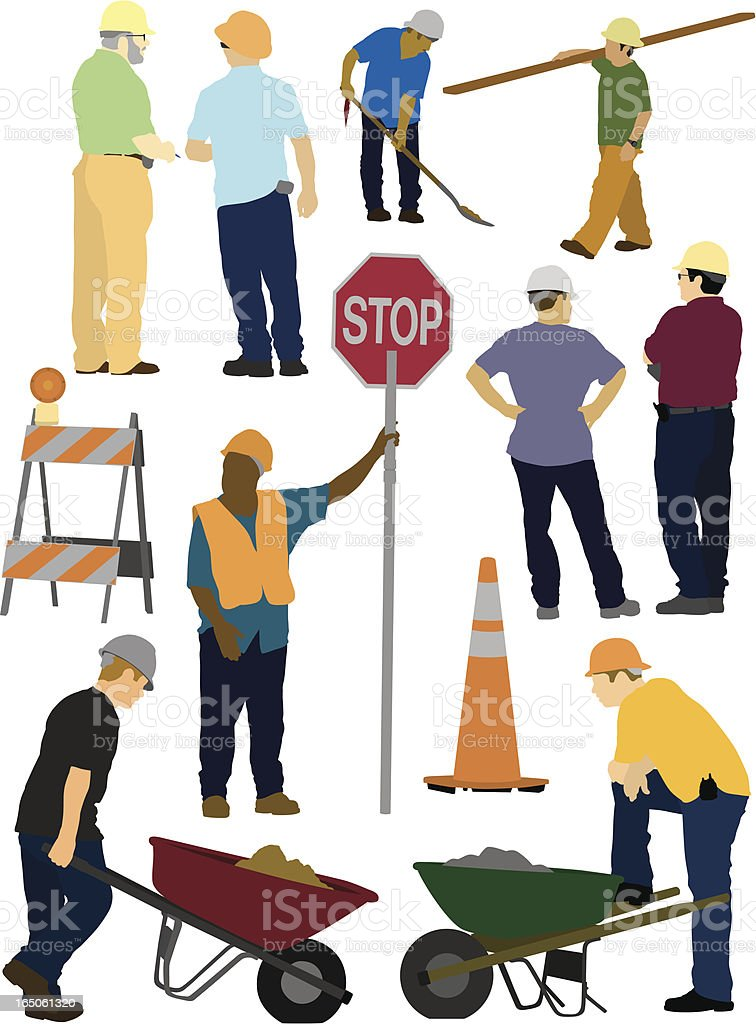 Graphics of construction site workers royalty-free stock vector art