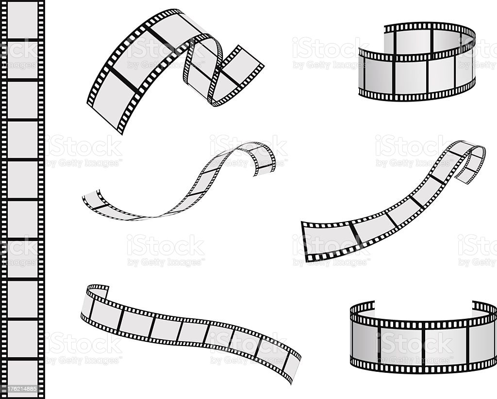 Graphics of film reel in various lengths and shapes vector art illustration