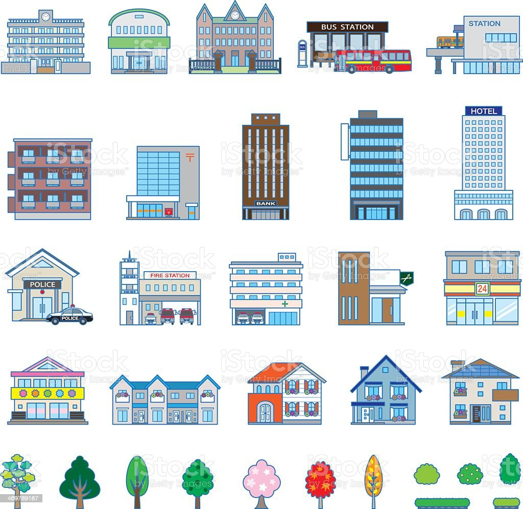 Graphics of various buildings and trees vector art illustration