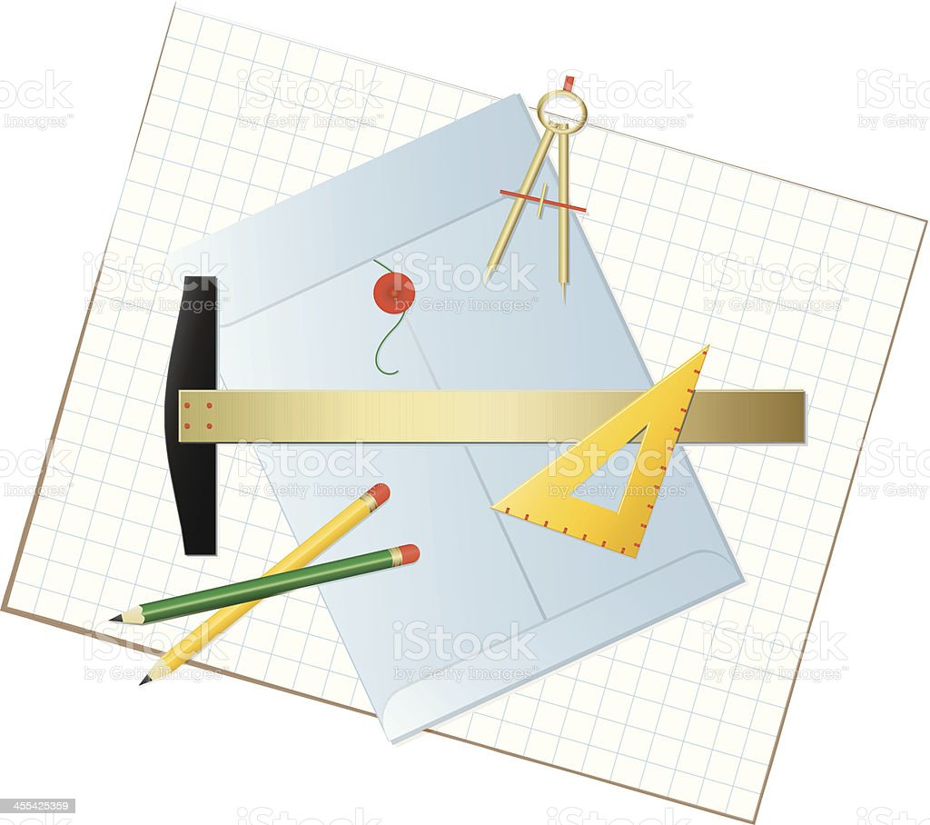 Graphics Tools Layout with Pencils, Envelope, Compass, Triangle, Graph Paper royalty-free stock vector art