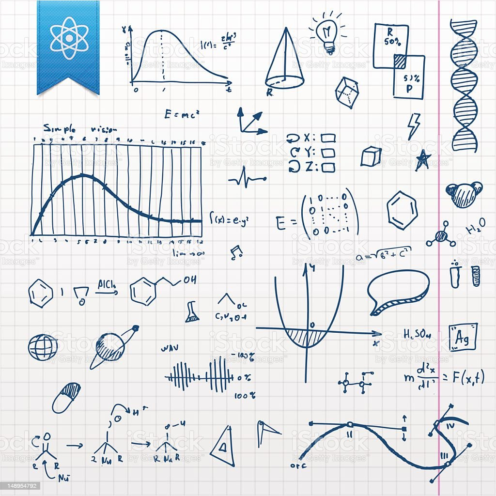 Graphing paper with several scientific doodles vector art illustration