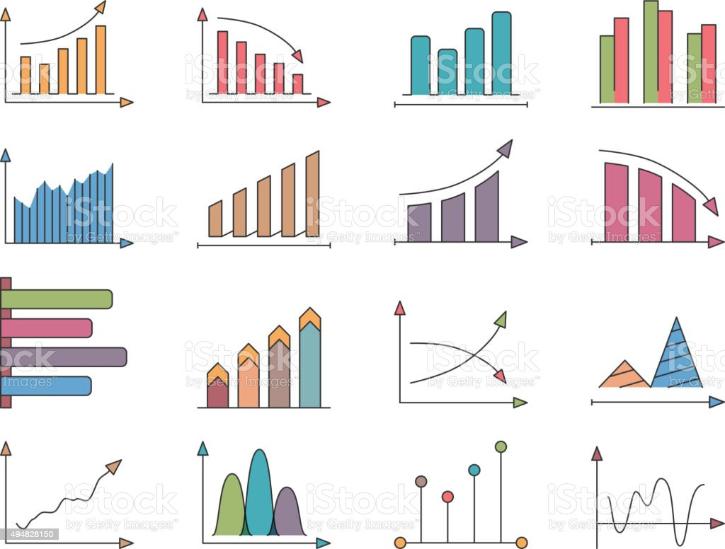 Graphs and Charts Icons vector art illustration