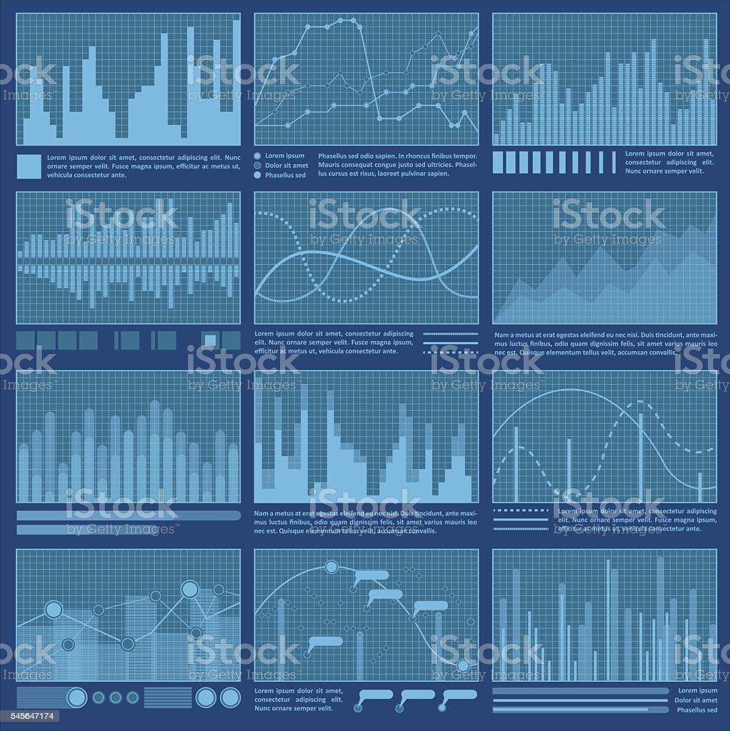 Graphs and charts vector art illustration