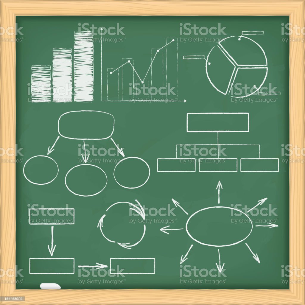 Graphs and diagrams on blackboard royalty-free stock vector art