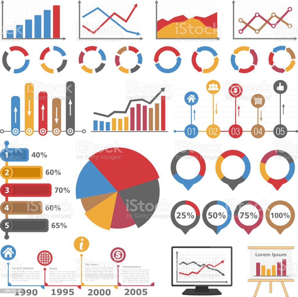 Graphs and Diagrams vector art illustration
