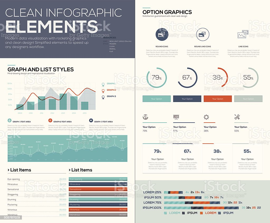 Graphs and pie charts for infographic vector data visualization vector art illustration