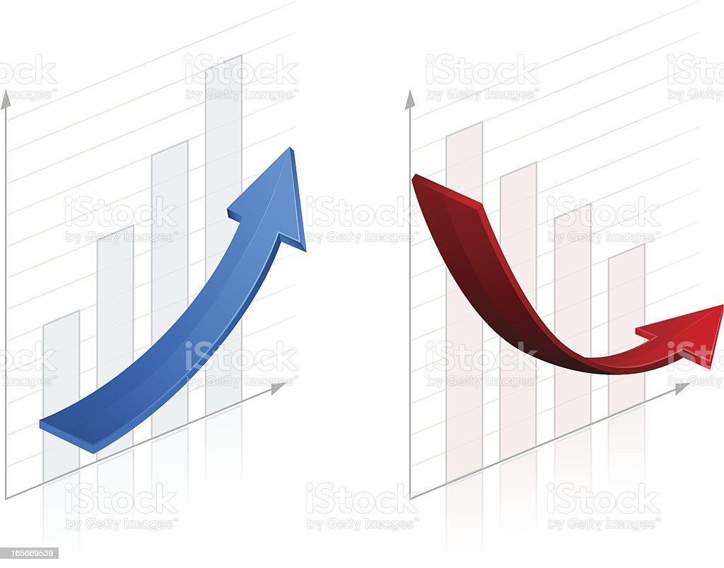 Graphs - Ascending and Descending royalty-free stock vector art
