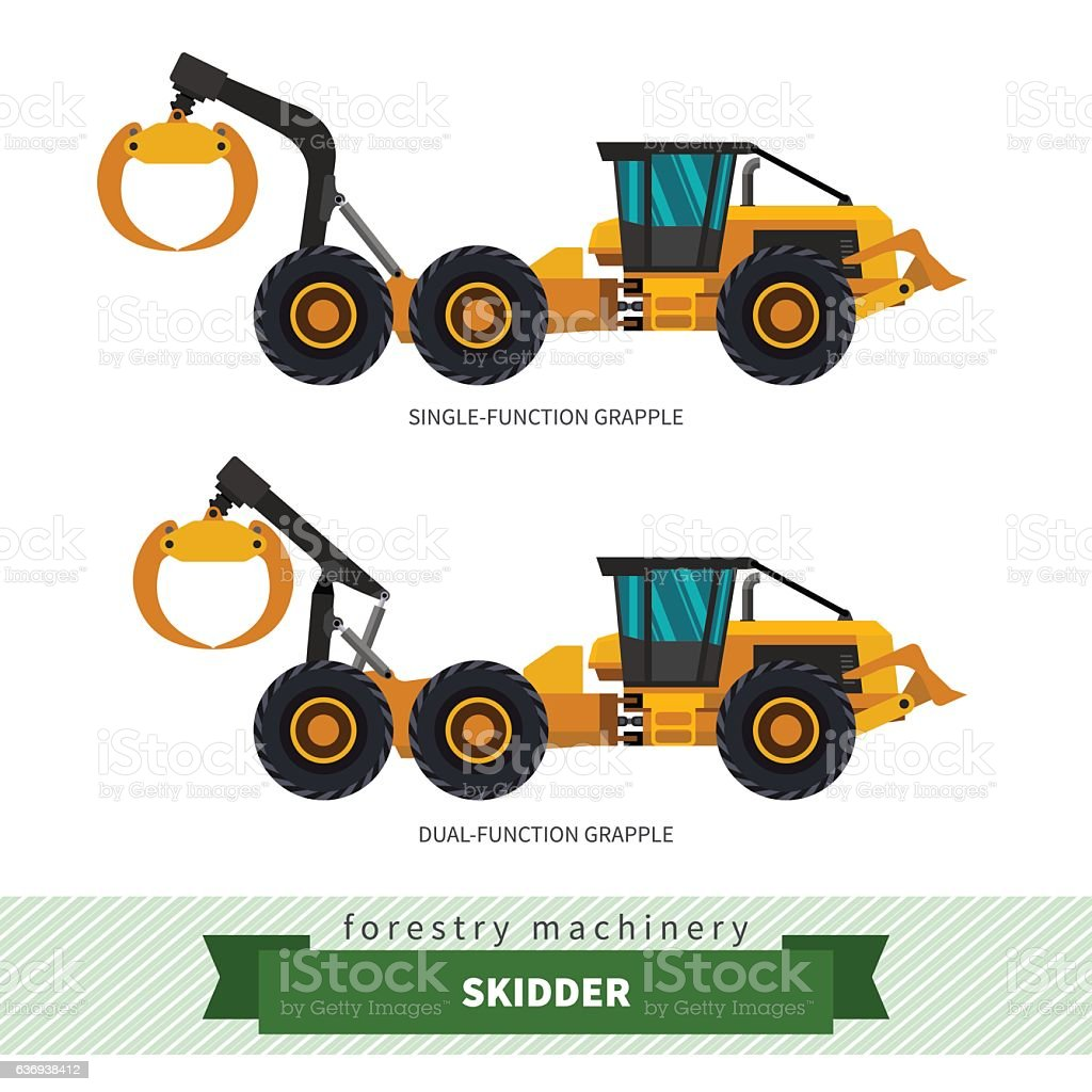 Grapple skidder forestry vehicle vector art illustration