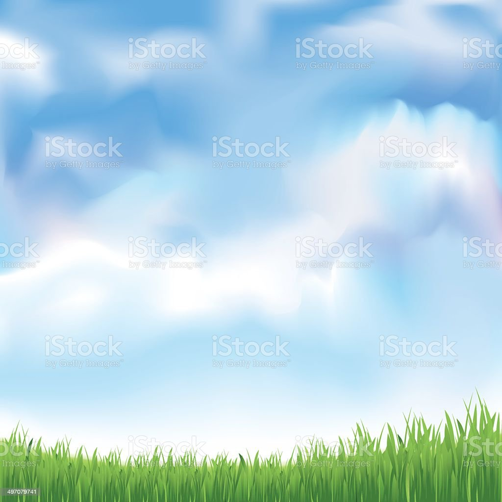 Grass and blue sky royalty-free stock vector art