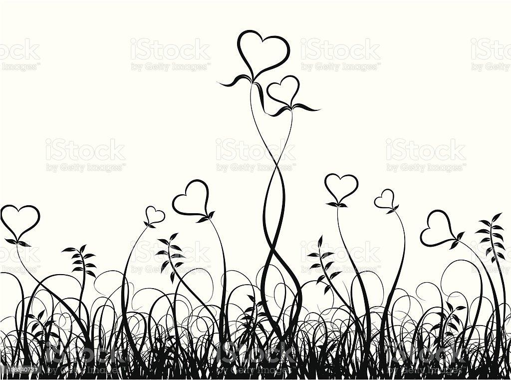Grass and hearts vector art illustration