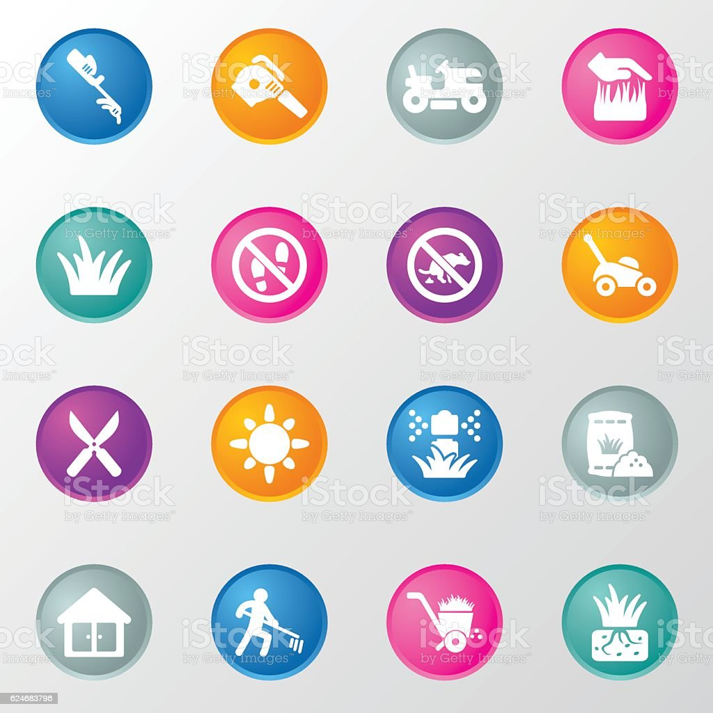Grass and Landscaping Circle Color Icons vector art illustration