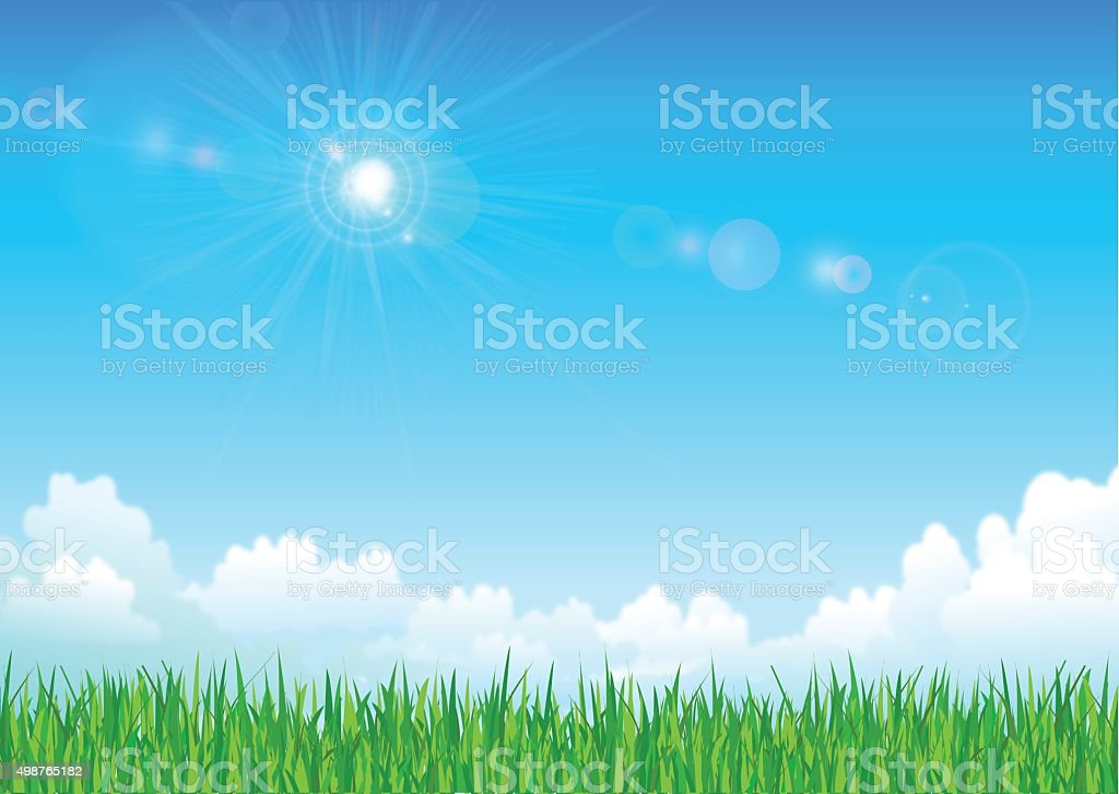 Grass and sky vector art illustration