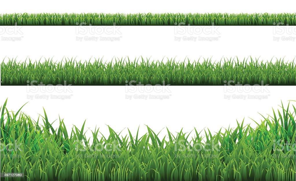Grass Borders Set vector art illustration