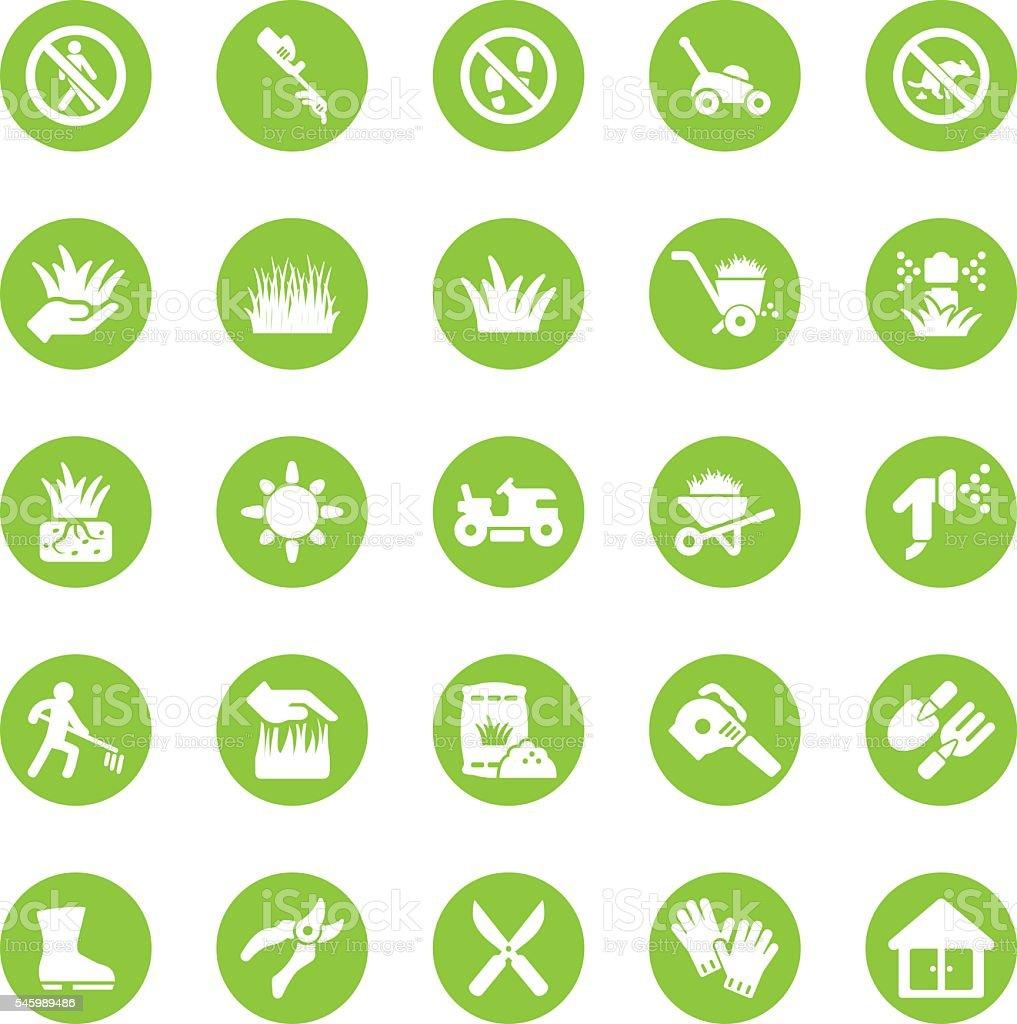 Grass Circle Green icons   EPS10 vector art illustration