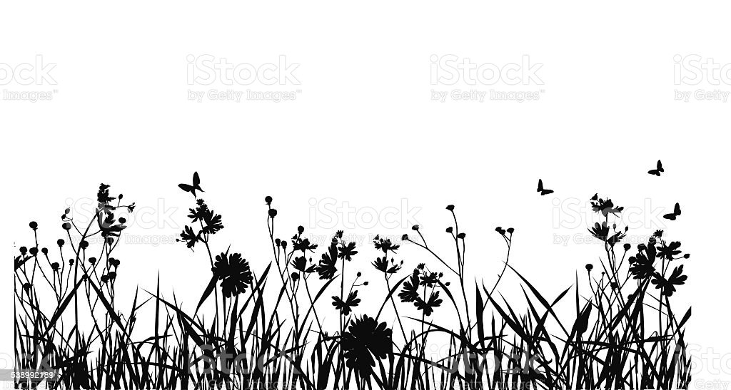 Grass Field With Butterfly Silhouette vector art illustration
