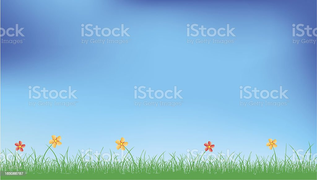 Grass, flowers and sky royalty-free stock vector art