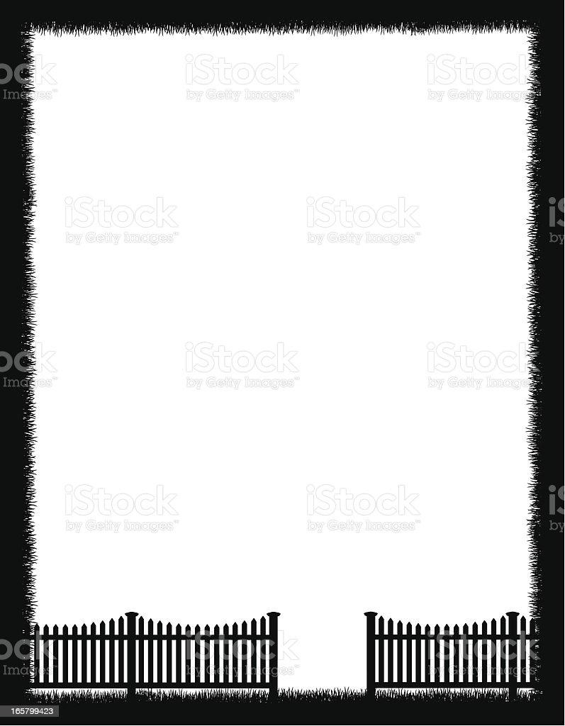 Grass Frame and Fence Background vector art illustration