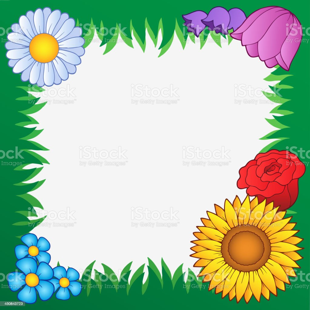 Grass frame with flowers 2 royalty-free stock vector art